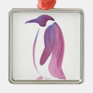 Ornement Carré Argenté Pingouin très violet