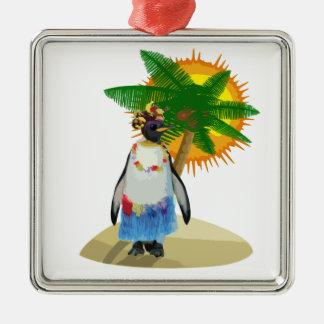 Ornement Carré Argenté Pingouin tropical