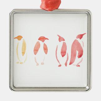 Ornement Carré Argenté Pingouins oranges et rouges