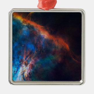 Ornement Carré Argenté Plume de gaz près d'Orion par la NASA
