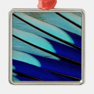 Ornement Carré Argenté plumes Bleu-gonflées de rouleau