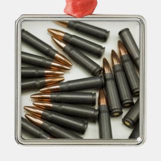 Ornement Carré Argenté point creux des munitions 7.62x39mm de munitions