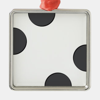 Ornement Carré Argenté Points gris-foncé Checkered