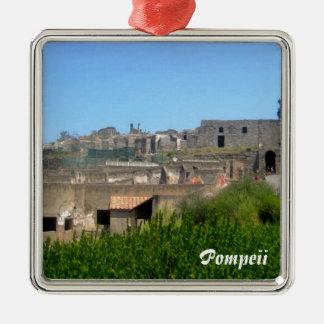 Ornement Carré Argenté Pompeii Italie