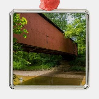 Ornement Carré Argenté Pont couvert de moulin de Wilkens