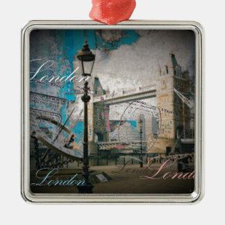 Ornement Carré Argenté pont de tour de la Tamise Londres de lampadaire du
