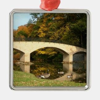 Ornement Carré Argenté Pont en arc-en-ciel dans l'automne à l'université