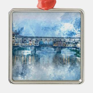 Ornement Carré Argenté Ponte Vecchio sur le fleuve Arno à Florence,