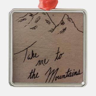 Ornement Carré Argenté Portez-moi aux montagnes