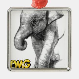 Ornement Carré Argenté pose d'éléphant