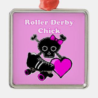 Ornement Carré Argenté Poussin de Derby de rouleau (rose)