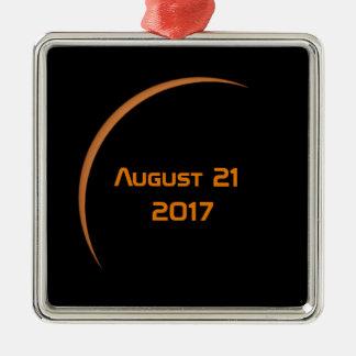 Ornement Carré Argenté Près de l'éclipse solaire partielle de maximum le