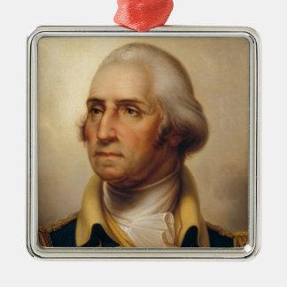 Ornement Carré Argenté Président américain : George Washington