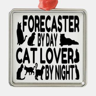 Ornement Carré Argenté Prévisionniste d'amoureux des chats