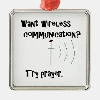 Ornement Carré Argenté Prière sans fil de communication