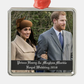 Ornement Carré Argenté Prince Harry et mariage royal 2018 de Meghan