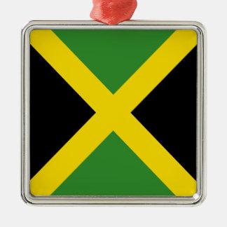 Ornement Carré Argenté Produits de drapeau de la Jamaïque