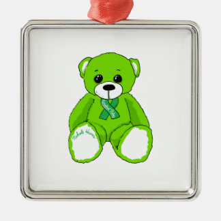 Ornement Carré Argenté Produits d'ours de nounours de conscience