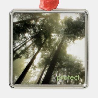 Ornement Carré Argenté Protégez nos forêts