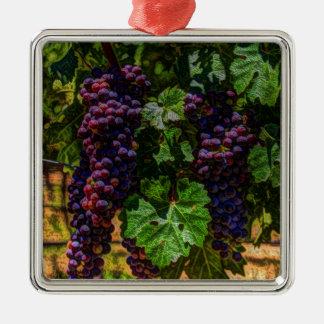 Ornement Carré Argenté Raisins ensoleillés de vignoble de la Toscane de