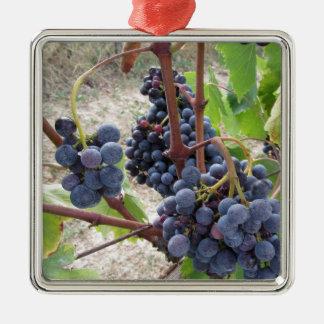 Ornement Carré Argenté Raisins rouges sur la vigne avec le feuille vert