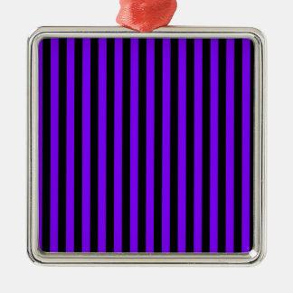 Ornement Carré Argenté Rayures minces - noir et violette
