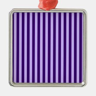 Ornement Carré Argenté Rayures minces - violet-clair et violette foncée