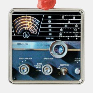 Ornement Carré Argenté Récepteur radioélectrique d'ondes courtes vintages