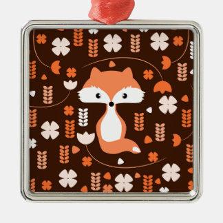 Ornement Carré Argenté Renard, fleurs et feuille mignons dans l'orange