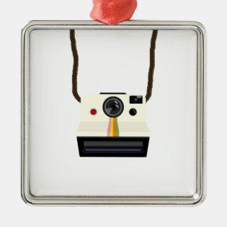 Ornement Carré Argenté rétro appareil-photo avec la courroie