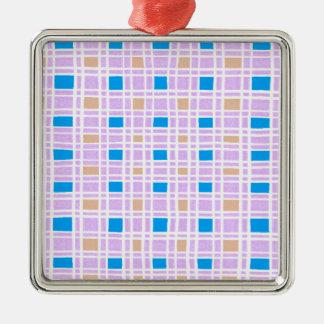 Ornement Carré Argenté Rétro motif de carrés