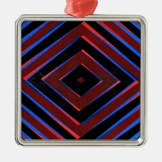 Ornement Carré Argenté Rétro motif de formes de diamant