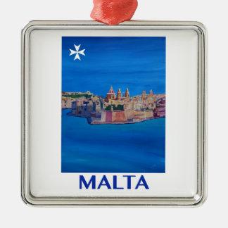 Ornement Carré Argenté RÉTRO ville de Malte La Valette d'AFFICHE de
