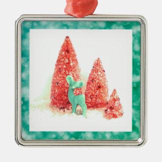 Ornement Carré Argenté Rétros cerfs communs de Noël avec le cadre d'Aqua