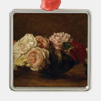 Ornement Carré Argenté Roses dans une cuvette - Henri Fantin-Latour