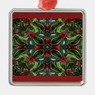 Ornement Carré Argenté Rouge et vert modelés pour Noël