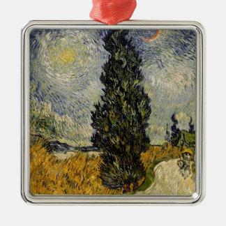 Ornement Carré Argenté Route de Vincent van Gogh   avec des cyprès, 1890