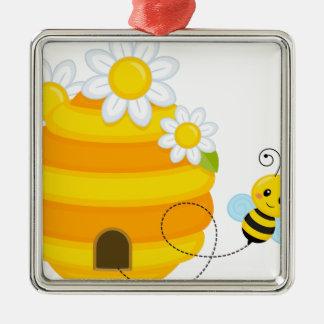 Ornement Carré Argenté Ruche d'abeille