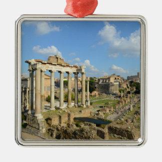 Ornement Carré Argenté Ruines romaines à Rome Italie