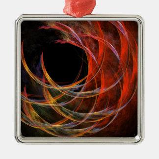 Ornement Carré Argenté Rupture du carré d'art abstrait de cercle