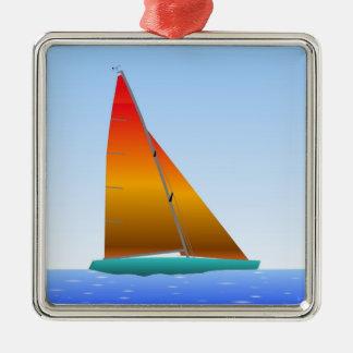 Ornement Carré Argenté Sailing Boat - Voilier (02)