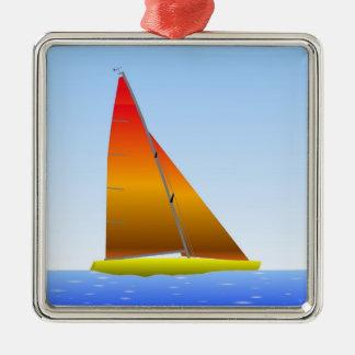 Ornement Carré Argenté Sailing Boat - Voilier (03)