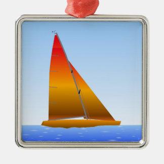 Ornement Carré Argenté Sailing Boat - Voilier (04)