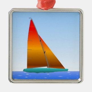 Ornement Carré Argenté Sailing Boat - Voilier (13)
