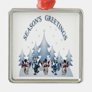 Ornement Carré Argenté Saisons saluant la conception avec la joie de Noël