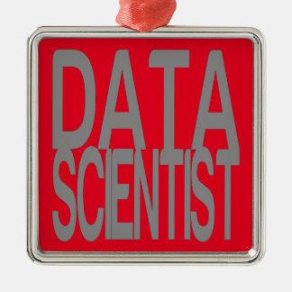Ornement Carré Argenté Scientifique de données en texte argenté grand
