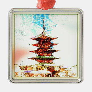 Ornement Carré Argenté Série de temple de pagoda du Japon
