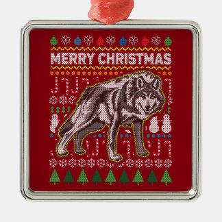 Ornement Carré Argenté Série laide de faune de chandail de Noël de loup