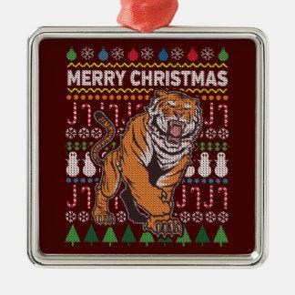 Ornement Carré Argenté Série laide de faune de chandail de Noël de tigre