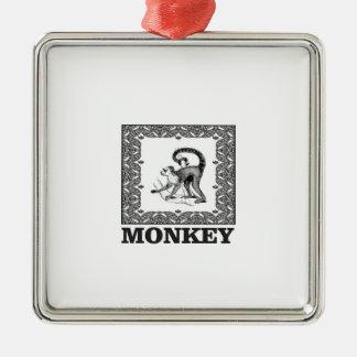 Ornement Carré Argenté singe dans une boîte